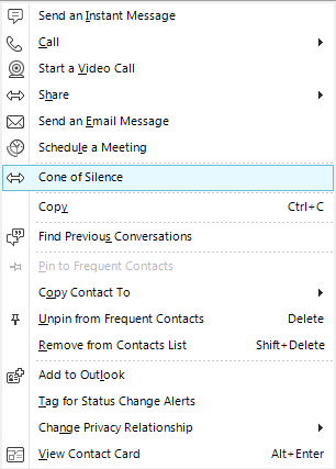 Custom menu item in the Lync client.